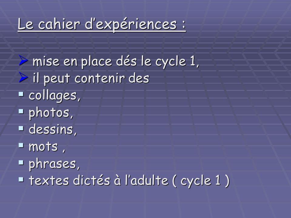 Le cahier d'expériences :