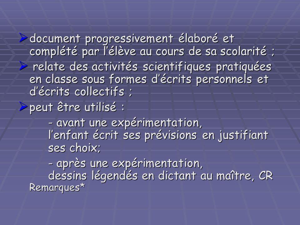 document progressivement élaboré et complété par l'élève au cours de sa scolarité ;