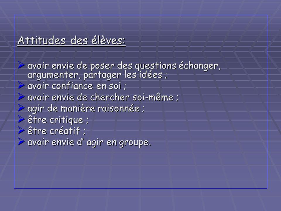 Attitudes des élèves: avoir envie de poser des questions échanger, argumenter, partager les idées ;