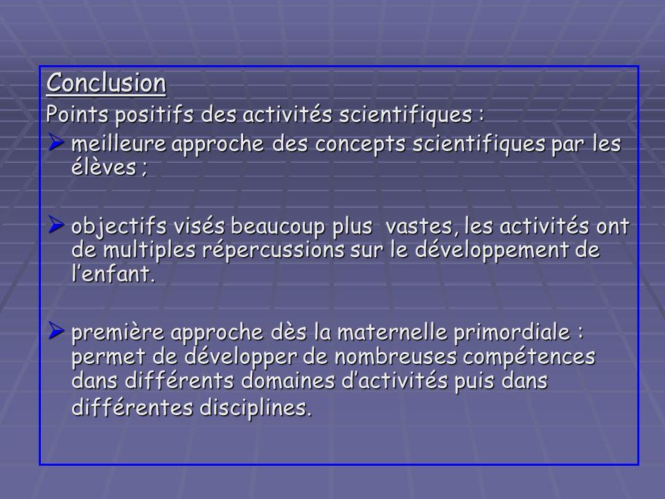 Conclusion Points positifs des activités scientifiques :