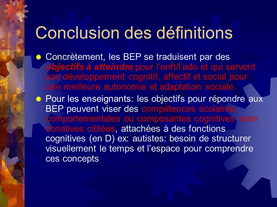 Conclusion des définitions