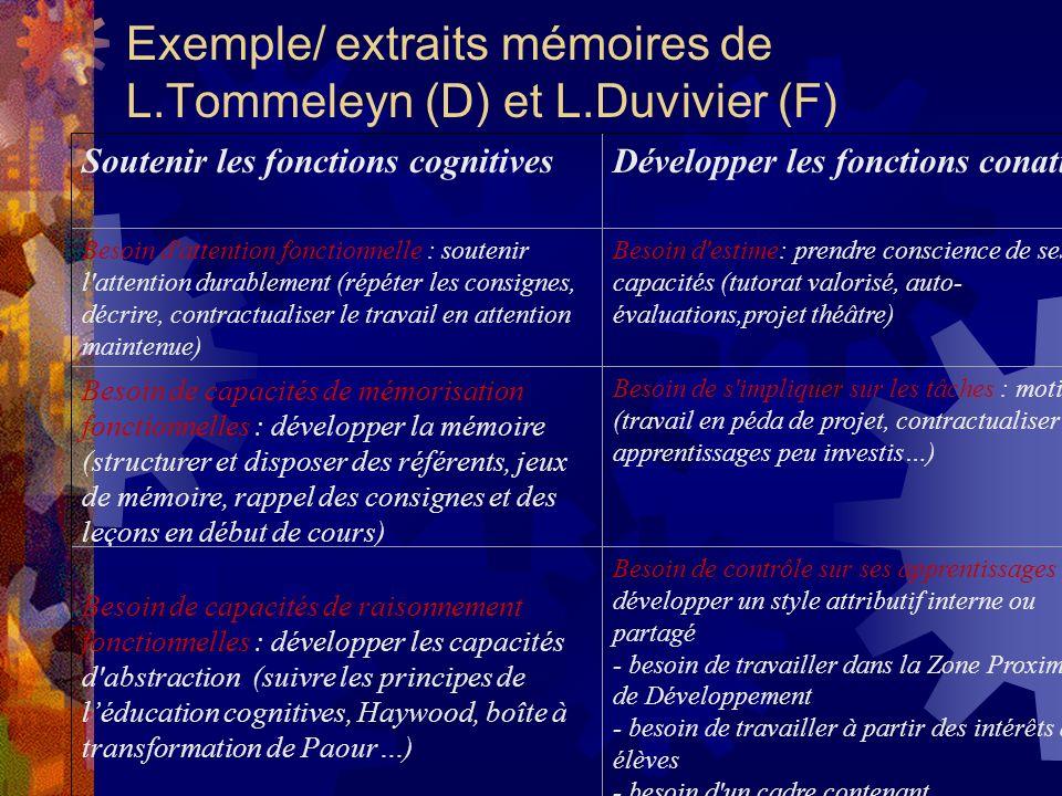 Exemple/ extraits mémoires de L.Tommeleyn (D) et L.Duvivier (F)
