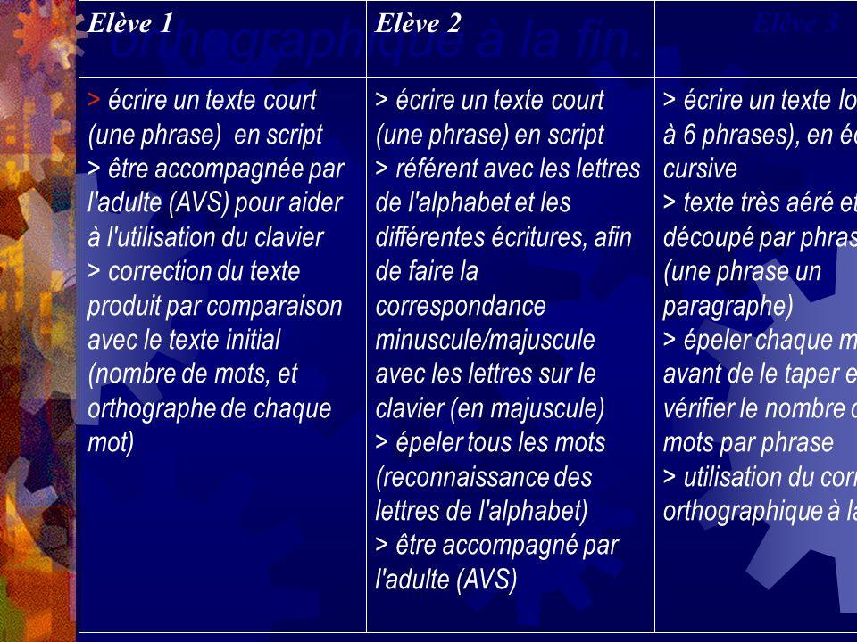 Elève 1 Elève 2. Elève 3. > écrire un texte court (une phrase) en script.