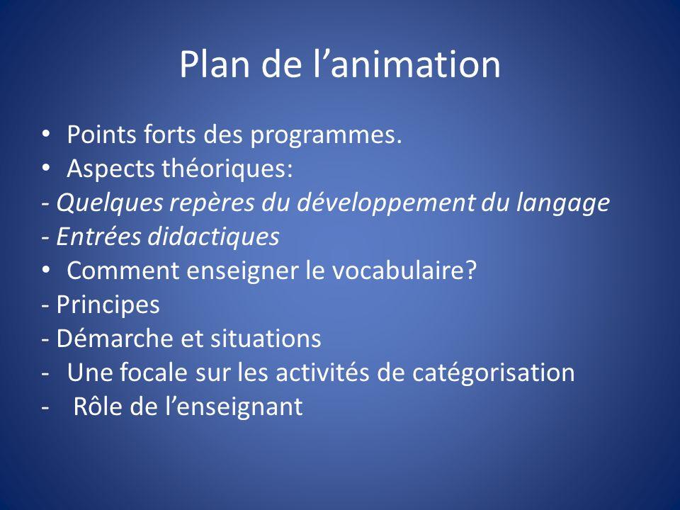 Plan de l'animation Points forts des programmes. Aspects théoriques: