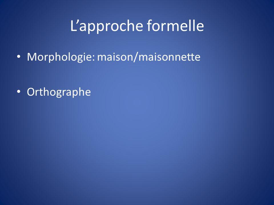 L'approche formelle Morphologie: maison/maisonnette Orthographe