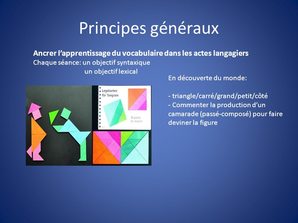 Principes généraux Ancrer l'apprentissage du vocabulaire dans les actes langagiers. Chaque séance: un objectif syntaxique.