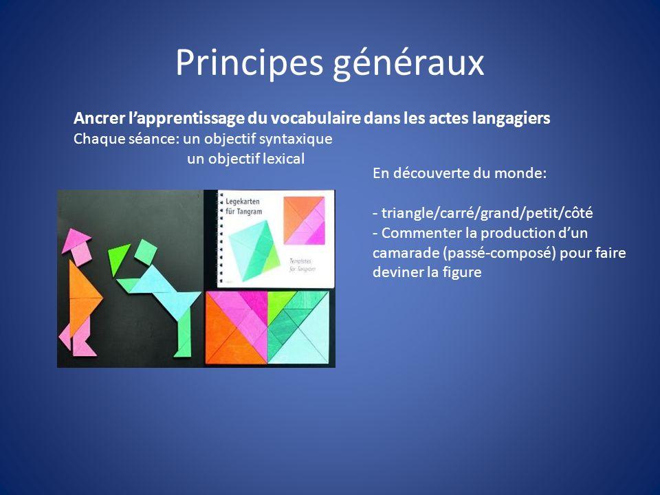 Principes générauxAncrer l'apprentissage du vocabulaire dans les actes langagiers. Chaque séance: un objectif syntaxique.