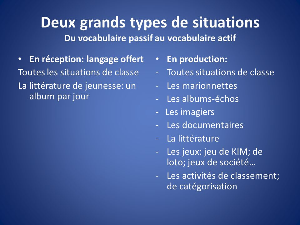 Deux grands types de situations Du vocabulaire passif au vocabulaire actif