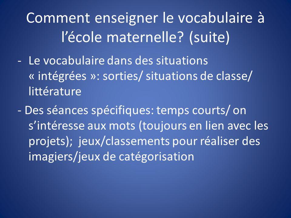 Comment enseigner le vocabulaire à l'école maternelle (suite)