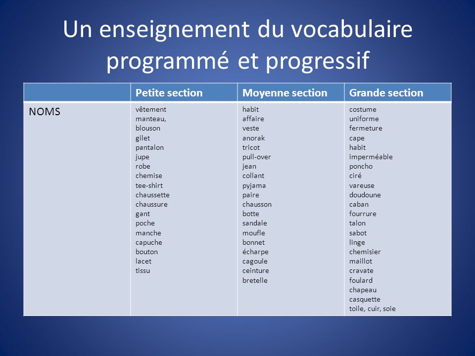 Un enseignement du vocabulaire programmé et progressif
