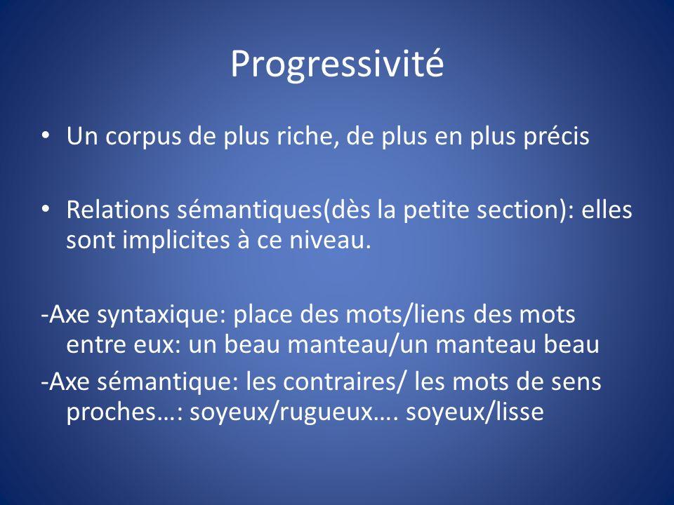 Progressivité Un corpus de plus riche, de plus en plus précis