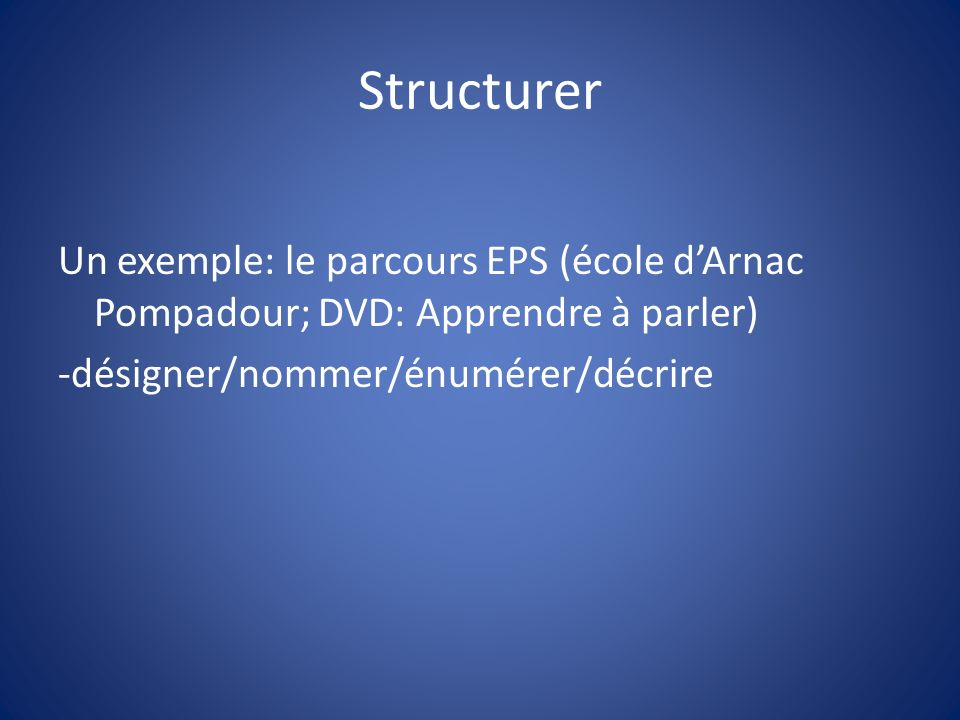 StructurerUn exemple: le parcours EPS (école d'Arnac Pompadour; DVD: Apprendre à parler) -désigner/nommer/énumérer/décrire