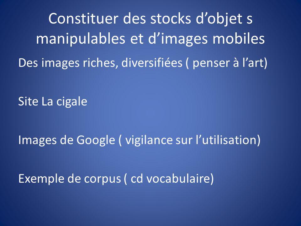 Constituer des stocks d'objet s manipulables et d'images mobiles