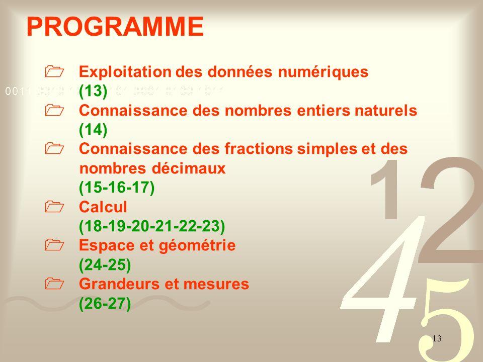 PROGRAMME (13)  Connaissance des nombres entiers naturels (14)
