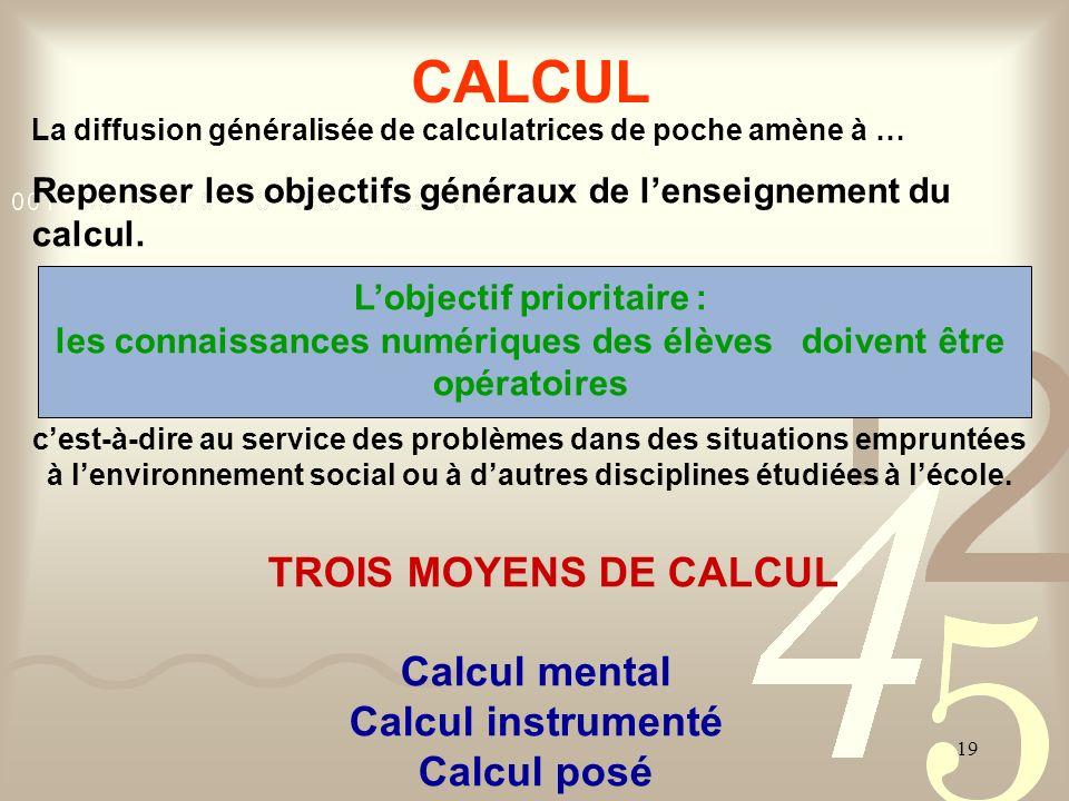 CALCUL TROIS MOYENS DE CALCUL Calcul mental Calcul instrumenté
