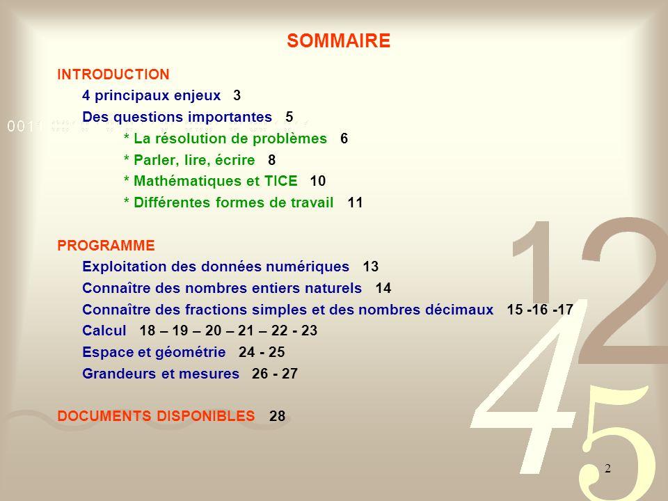 SOMMAIRE INTRODUCTION 4 principaux enjeux 3