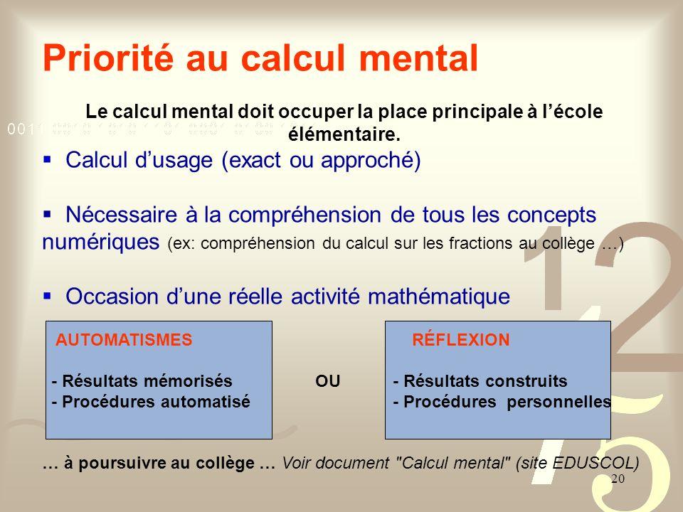 Priorité au calcul mental