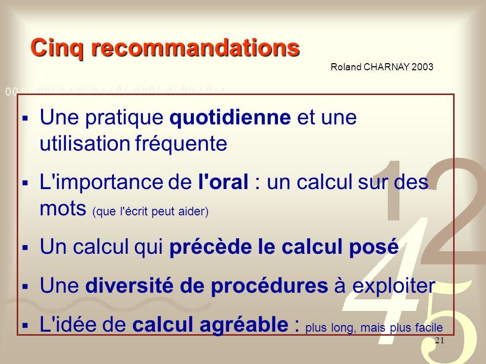 Cinq recommandations Roland CHARNAY 2003. Une pratique quotidienne et une utilisation fréquente.