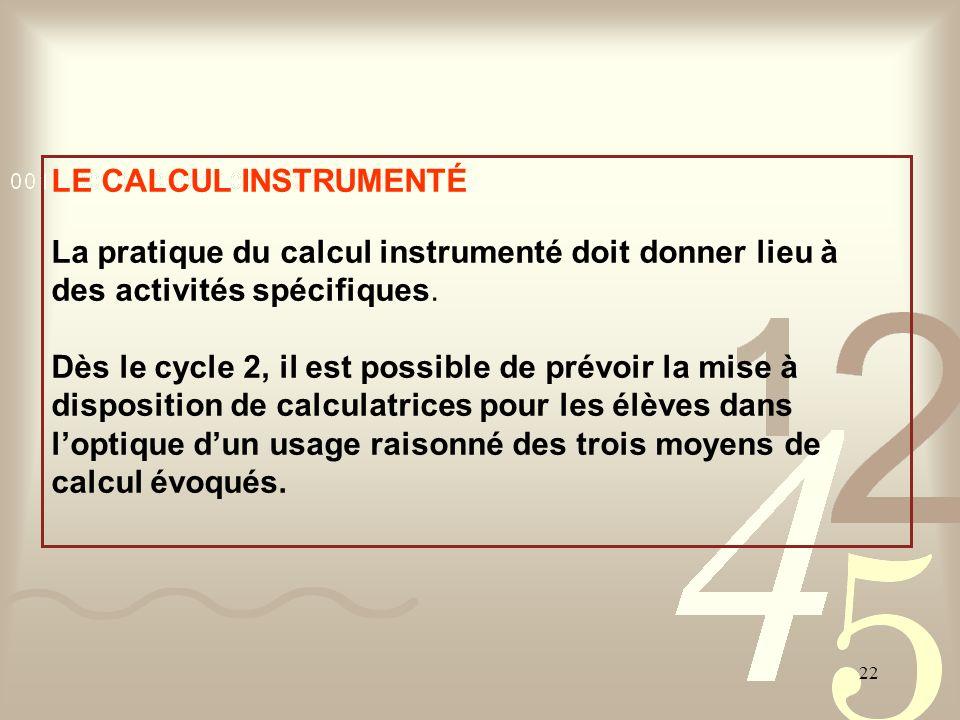 LE CALCUL INSTRUMENTÉ La pratique du calcul instrumenté doit donner lieu à des activités spécifiques.