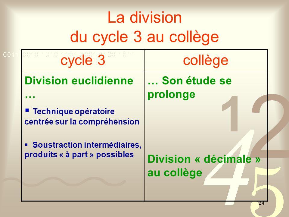 La division du cycle 3 au collège