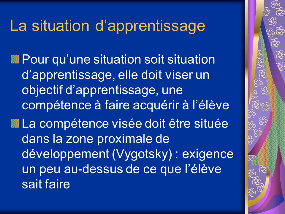 La situation d'apprentissage