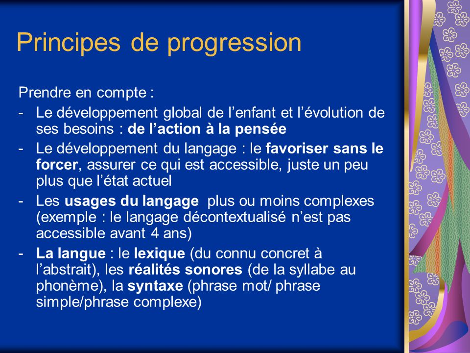 Principes de progression