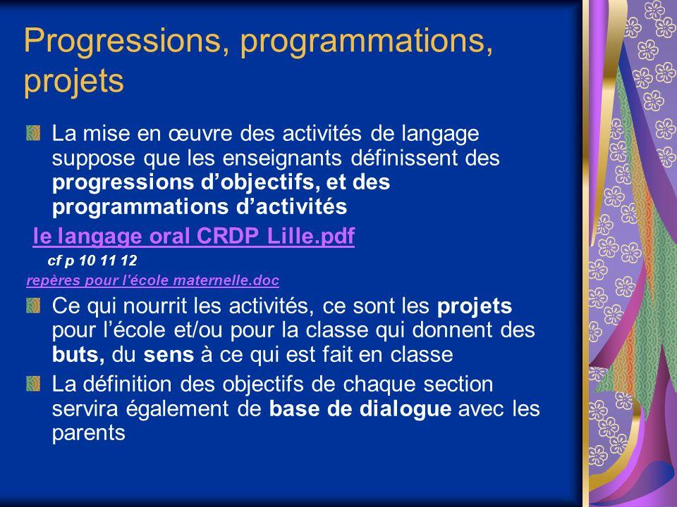 Progressions, programmations, projets