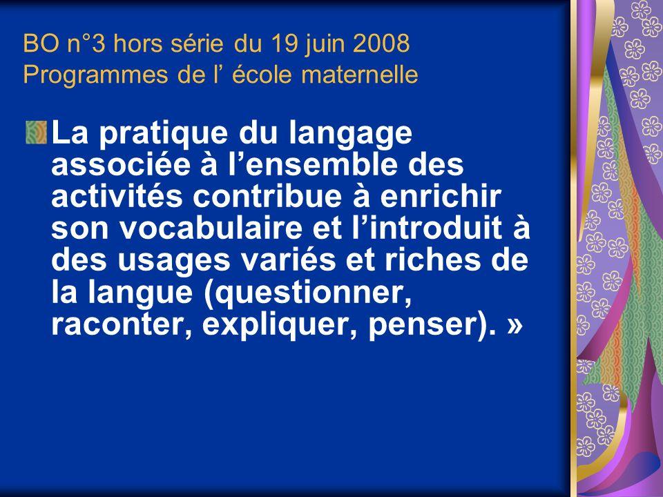 BO n°3 hors série du 19 juin 2008 Programmes de l' école maternelle
