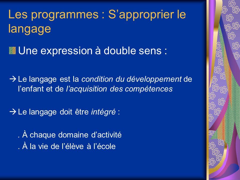Les programmes : S'approprier le langage
