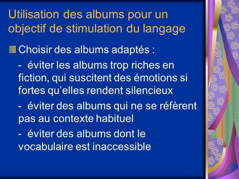 Utilisation des albums pour un objectif de stimulation du langage
