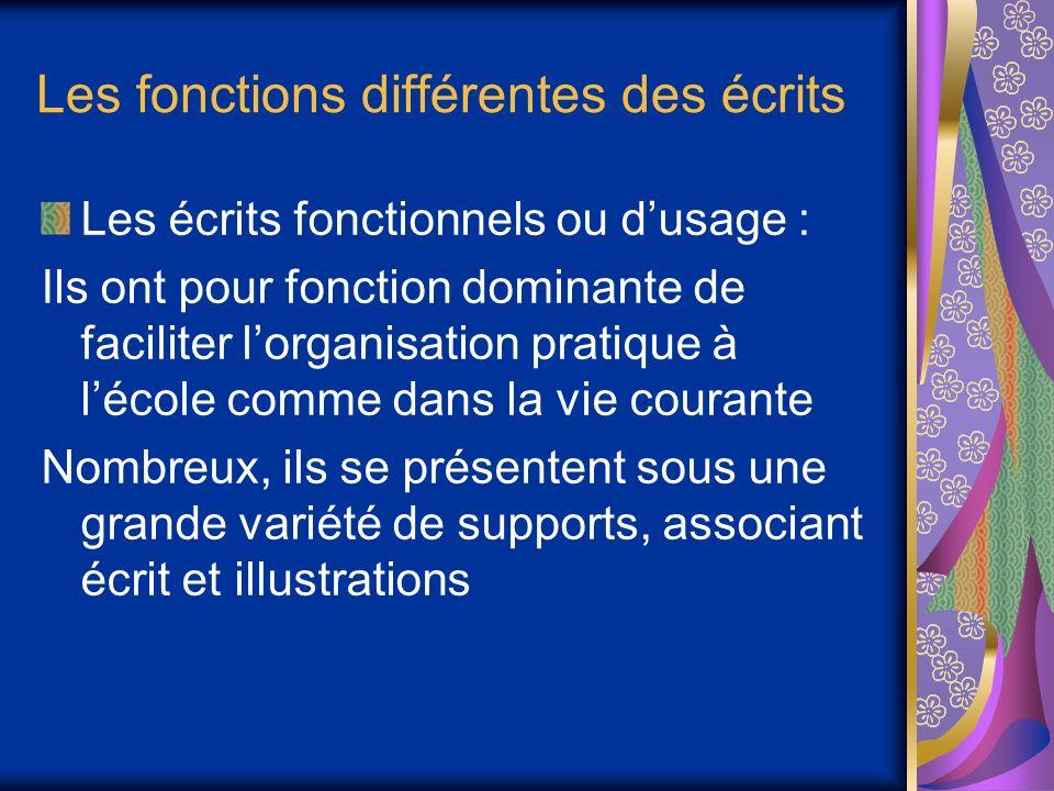 Les fonctions différentes des écrits