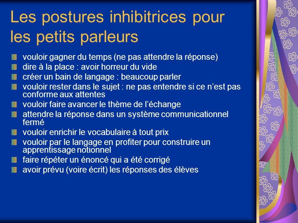 Les postures inhibitrices pour les petits parleurs