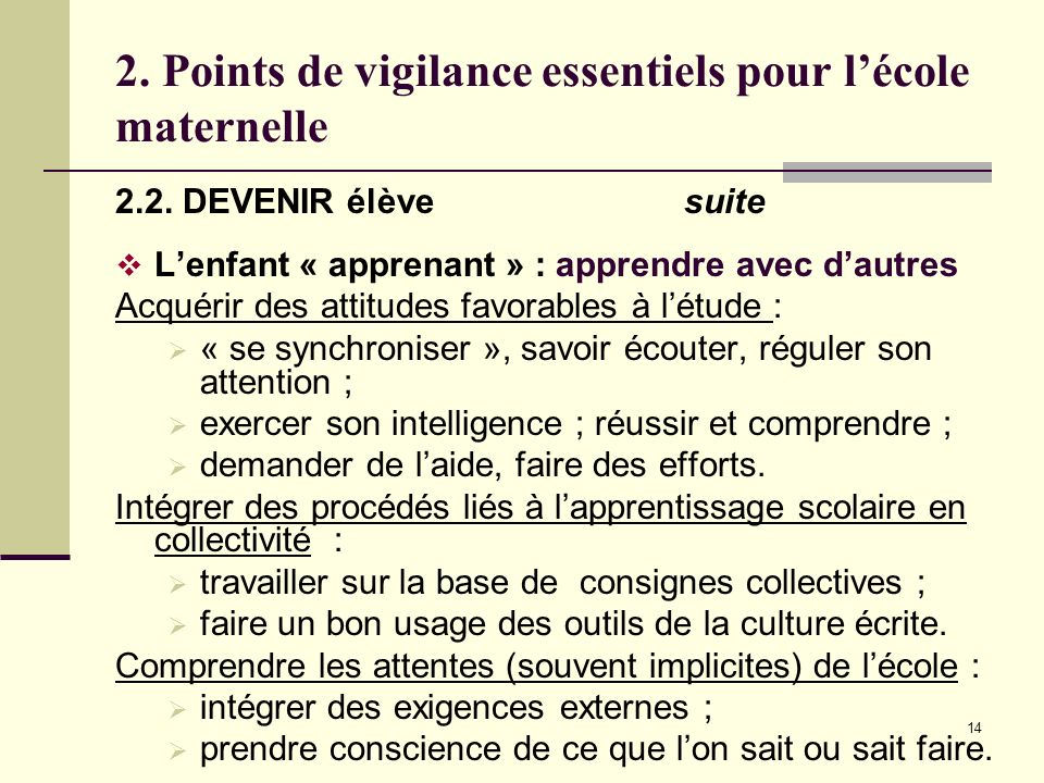 2. Points de vigilance essentiels pour l'école maternelle
