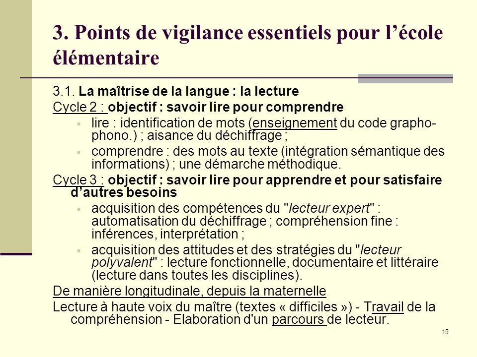 3. Points de vigilance essentiels pour l'école élémentaire