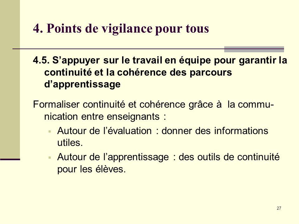 4. Points de vigilance pour tous