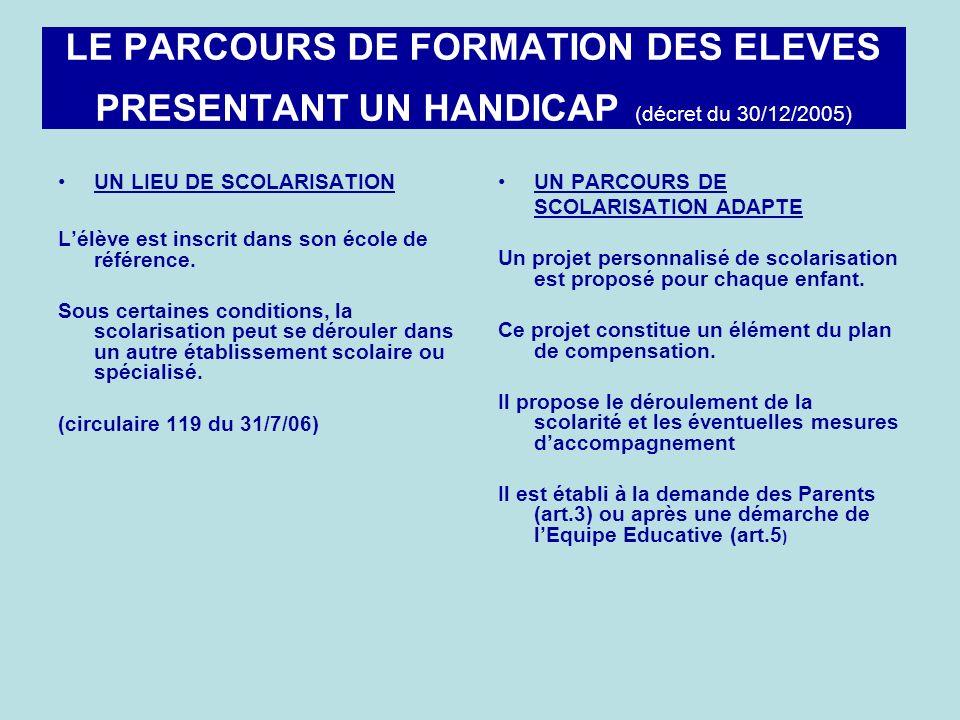 LE PARCOURS DE FORMATION DES ELEVES PRESENTANT UN HANDICAP (décret du 30/12/2005)