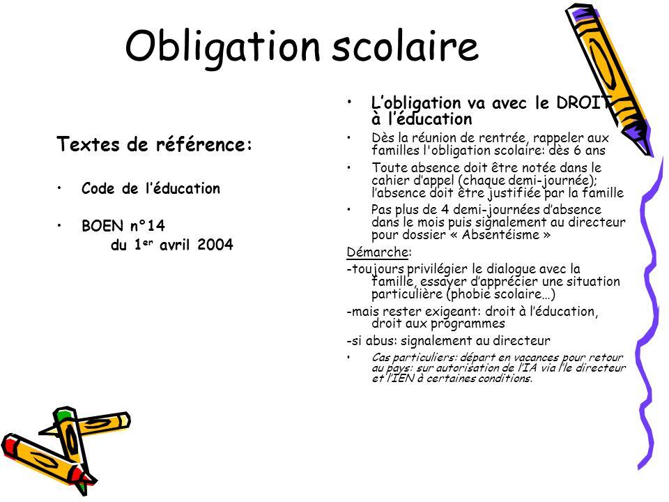Obligation scolaire Textes de référence: