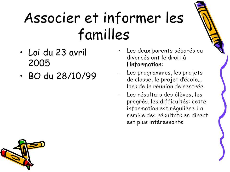 Associer et informer les familles