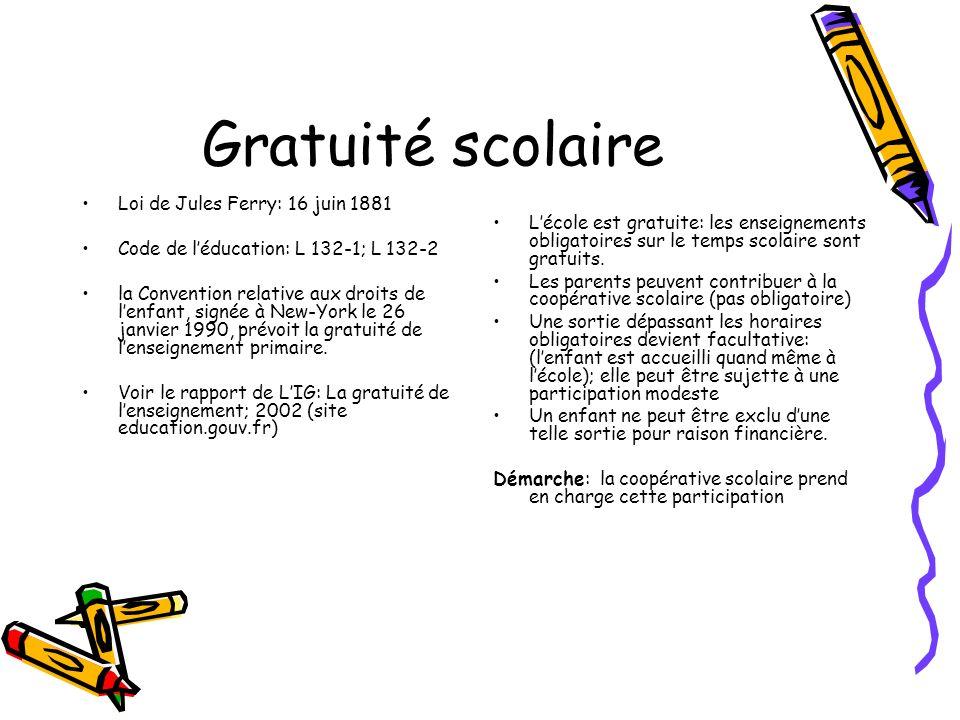 Gratuité scolaire Loi de Jules Ferry: 16 juin 1881