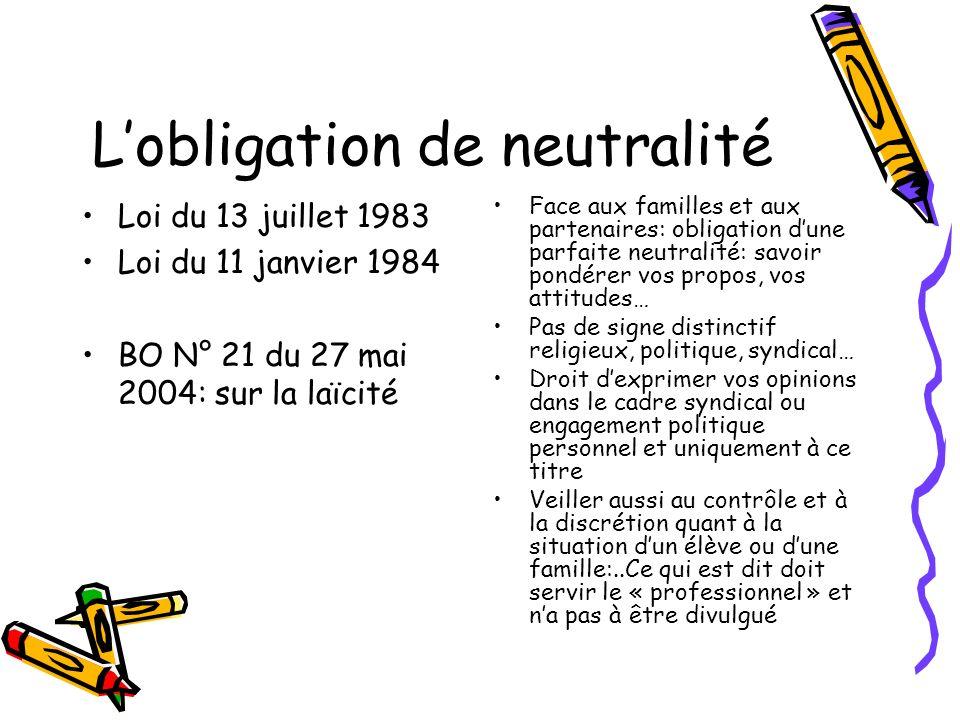 L'obligation de neutralité
