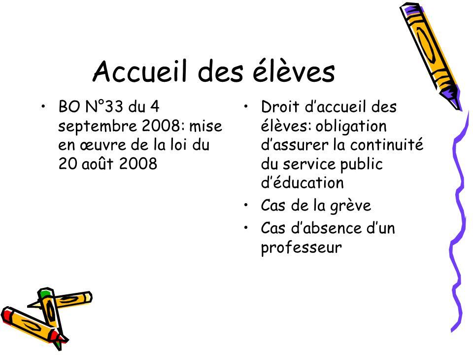 Accueil des élèves BO N°33 du 4 septembre 2008: mise en œuvre de la loi du 20 août 2008.