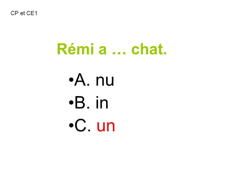 CP et CE1 Rémi a … chat. A. nu B. in C. un