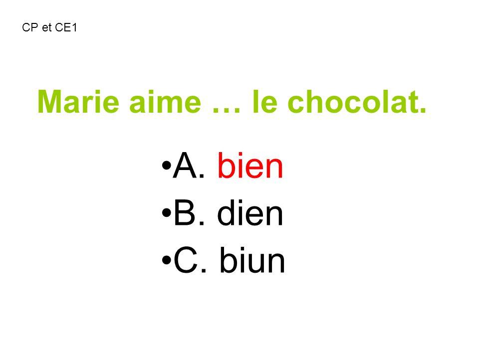 Marie aime … le chocolat.