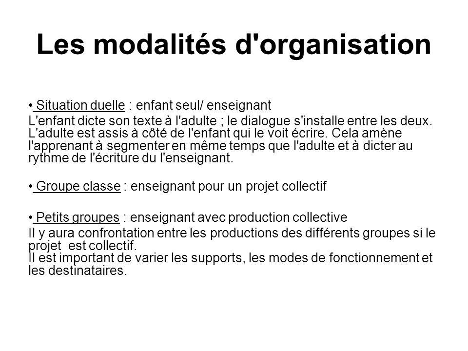 Les modalités d organisation