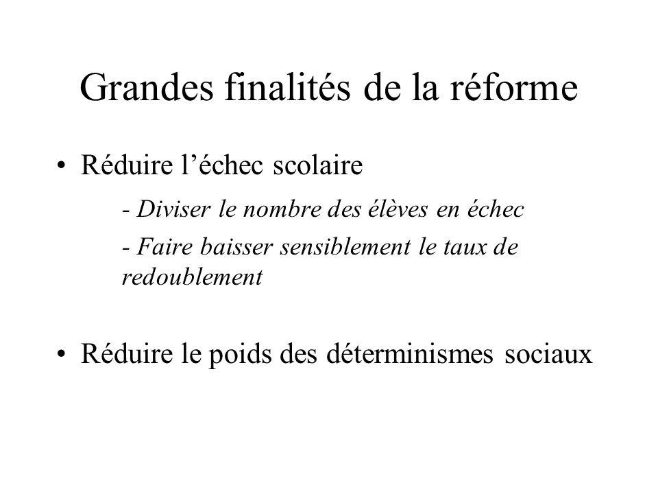 Grandes finalités de la réforme