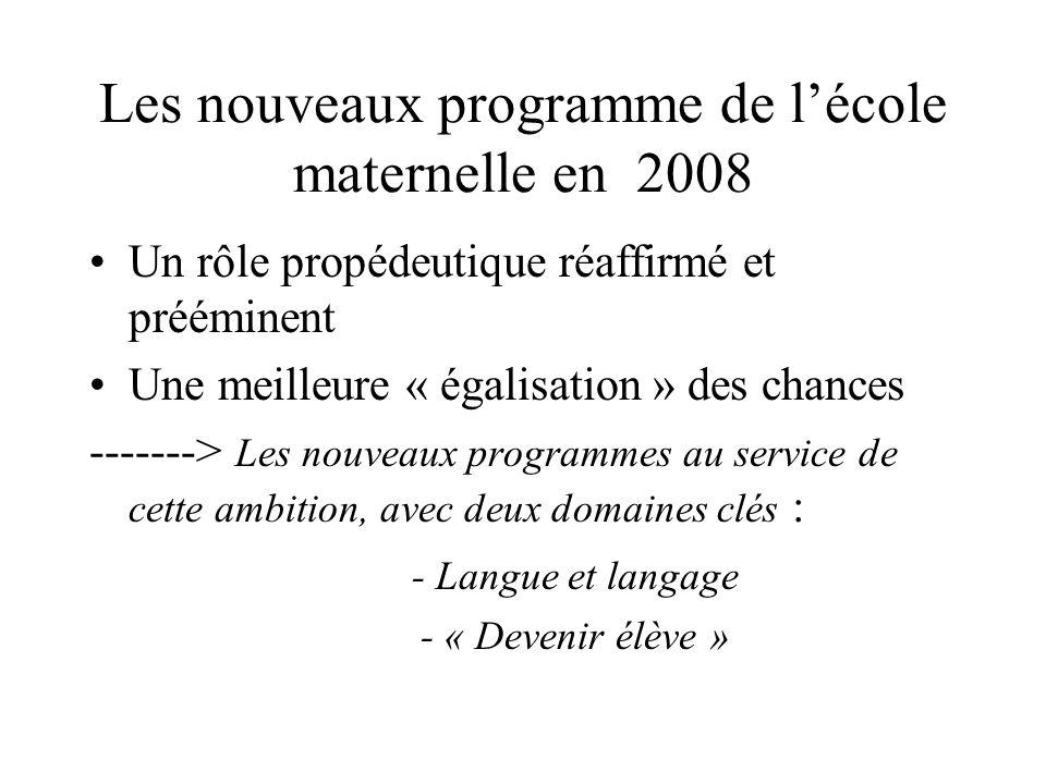 Les nouveaux programme de l'école maternelle en 2008