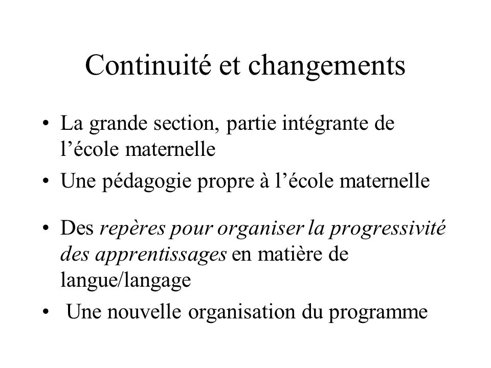 Continuité et changements