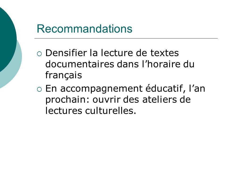 Recommandations Densifier la lecture de textes documentaires dans l'horaire du français.