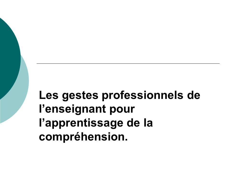 Les gestes professionnels de l'enseignant pour l'apprentissage de la compréhension.