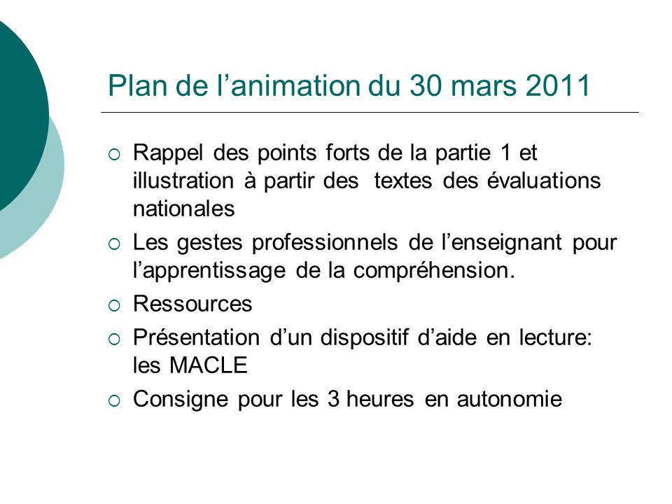Plan de l'animation du 30 mars 2011